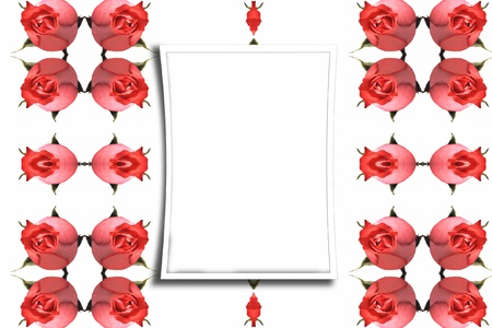 Abstract frame with red roses photo