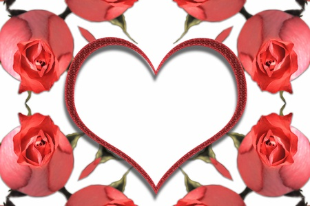 bed frame: Abstract frame with red roses and heart Stock Photo