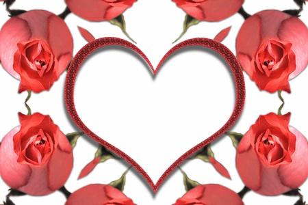 Marco abstracto con rosas rojas y corazón