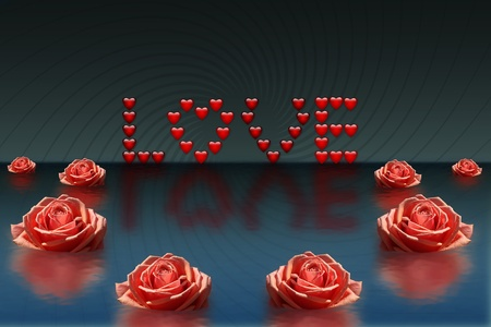 flower show: Abstract background with an inscription from hearts and roses Stock Photo