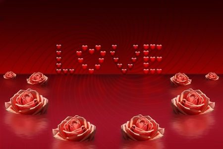 modern love: Abstract background with an inscription from hearts and roses Stock Photo