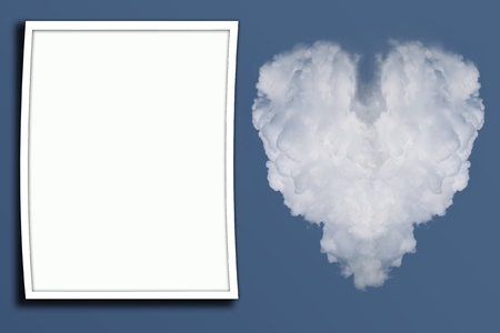 Frame with cloud in the form of heart in the blue sky Stock Photo