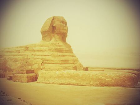 Sphinx during a sandy storm. Cairo
