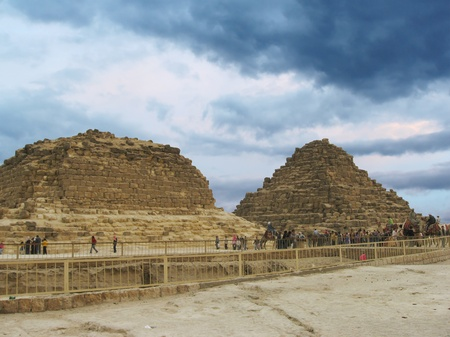 Pyramids of Giza near Cairo in Egypt. Pyramids of Pharaohs wifes photo