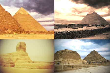 Card: sphinx, pyramids of pharaohs and his wifes. Giza, Egypt  photo