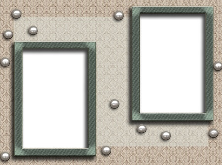 Framework for a photo with pearls Stock Photo - 9789285