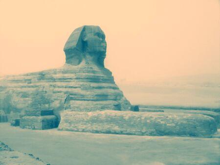 Esfinge durante una tormenta de arena. El Cairo