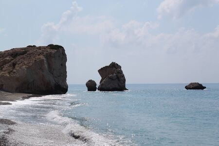 Petra tou Romiou in Paphos, Cyprus. It is also known as Rock of Aphrodite.  A legendary beach where Aphrodite came on coast. Stock Photo - 10740107