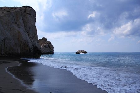 Petra tou Romiou in Paphos, Cyprus. It is also known as Rock of Aphrodite.  A legendary beach where Aphrodite came on coast.