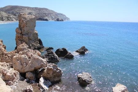 afrodite: Petra tou Romiou a Paphos, Cyprus. Altro lato da Rock di Afrodite (una leggendaria spiaggia dove Aphrodite � venuta sulla costa).