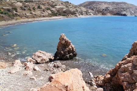 View on a gulf from other side of Rock of Aphrodite. Cyprus, Pathos