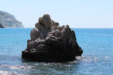 tou: Sea landscape. A rock of Aphrodite. The well-known birthplace of the goddess of Aphrodite in Pathos, Cyprus (Petra tou Romiou)