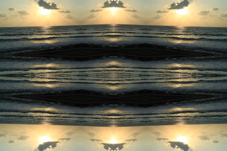Abstract wallpaper with sunset and sea