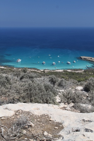 Blue lagoon in reserve Akamas. Cyprus Stock Photo