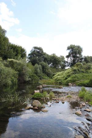 Creek of a small rivulet of Vashana. Tula region, Russia Stock Photo