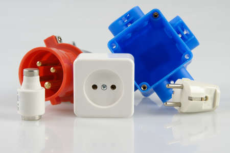 plugs, fuse and walloutlet Stock Photo