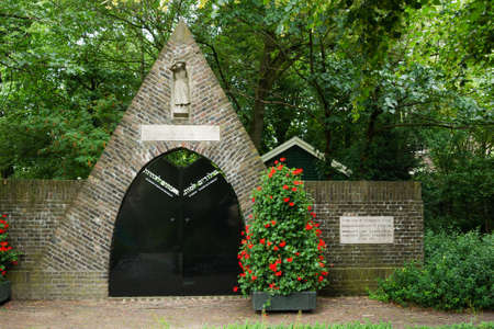 The former entrance of the Jewish cemetary inthe city center of  Gouda (NL). The German Forces demolished the cemetary during WW2. The entrance was saved and placed on a different location in Gouda to become a holocaust memorial.