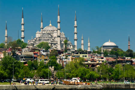 blue mosque in istanbul with aya sofia in the background