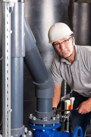 happy engineer with safety helmet, earplug and glasses photo