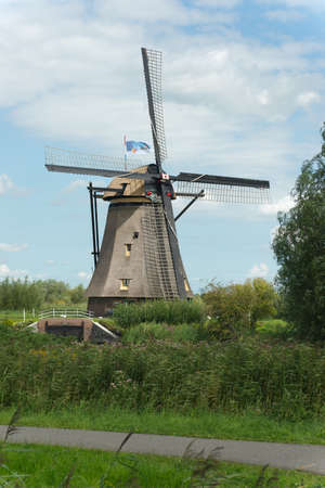 A windmill near Kinderdijk in the Netherlands. photo