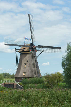 A windmill near Kinderdijk in the Netherlands.