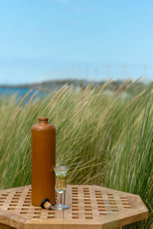 A bottle of jenever and a glass filled with genever in front of  blurred dunes, truf and the sea Stock Photo