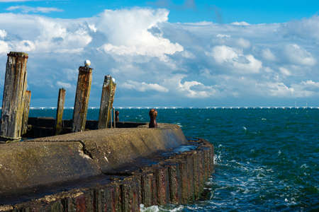bollards: bollards to moor ships in an old harbour Stock Photo