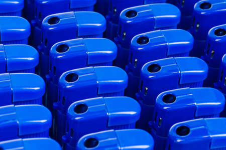 gas lighter: background of blue cigarette lighters with shallow depth of field Stock Photo