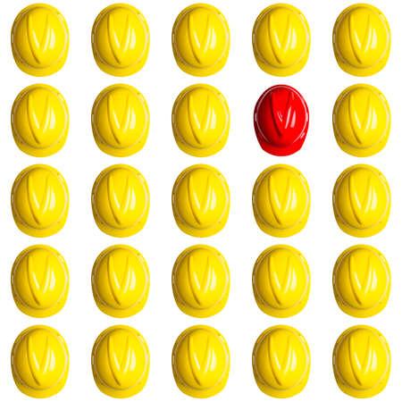 yellow and red hardhats symbolizing the spainish crisis Stock Photo - 16586688