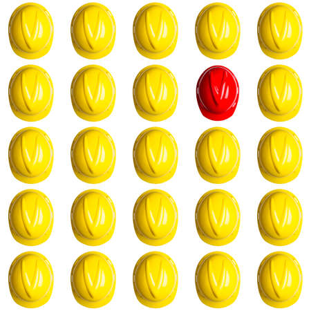 yellow and red hardhats symbolizing the spainish crisis Stock Photo - 16586688