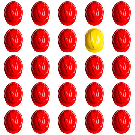 yellow and red hardhats symbolizing the spainish crisis Stock Photo - 16586689