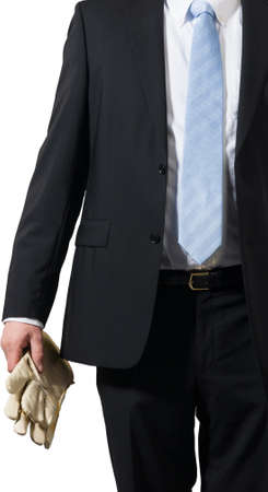businessman ready to put on some gloves to do the dirty work Stock Photo - 16693024