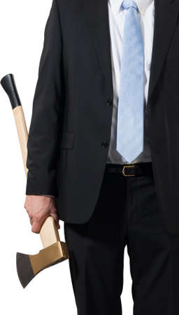 businessman ready to put an axe to work and chop to make the business healthy Stock Photo - 16692995