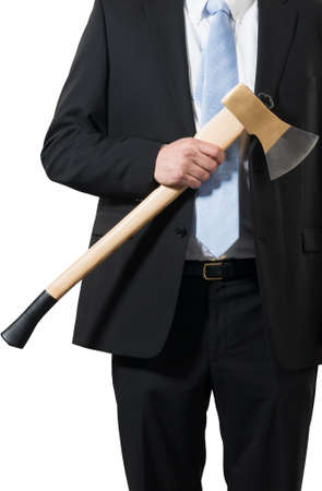 businessman ready to put an axe to work and chop to make the business healthy Stock Photo - 16693020