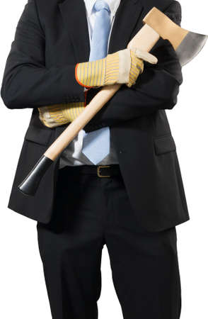 businessman ready to put an axe to work and chop to make the business healthy photo