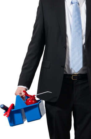 businessman ready for a workshop and carrying his tools to be successfull Stock Photo - 16693002