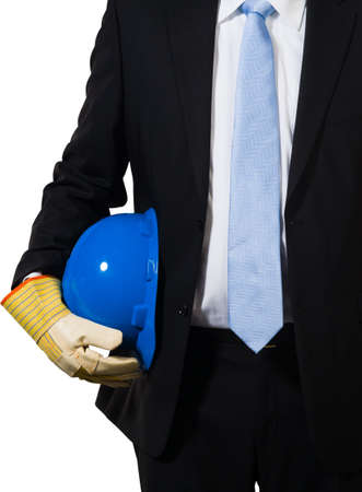 The white collar engineer with a blue helmet under his arms ready to do the job Stock Photo - 16847689