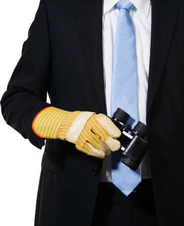 Manager holding binoculars to look after opportunities or dangerous situations Stock Photo - 16847684