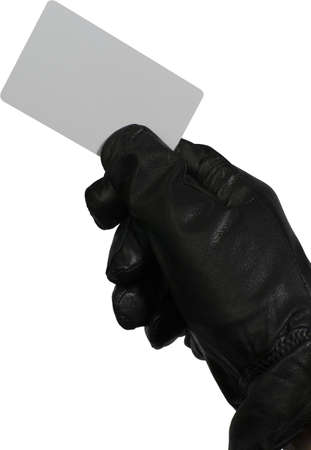 cardkey: Burglar carrying  a credit card or cardkey to open doors or to make fake purchases