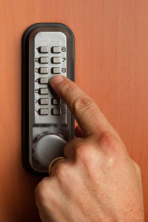 activate: touchpanel to activate the door lock Stock Photo