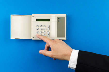 touchpanel to activate the electronic alarm system Stock Photo