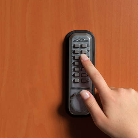 touchpanel to activate the door lock Stock Photo