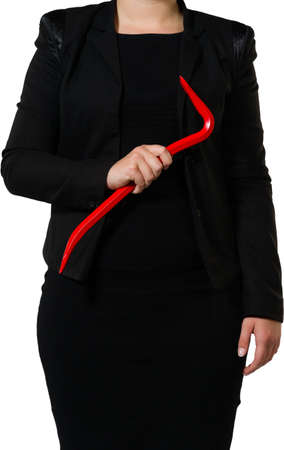 businesswoman ready to take the business  apart or a criminal to rob the bank Stock Photo