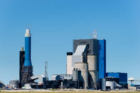 coal plant: Plant to burn bio waste and coal to generate electricity Stock Photo