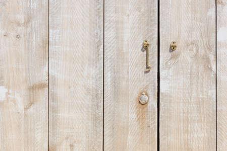 detail of a wooden door made of scaffolding Standard-Bild
