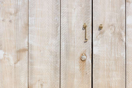 detail of a wooden door made of scaffolding Stock Photo