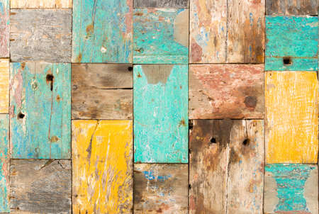 worn wooden pieces of wood jointed together to form a panel Standard-Bild