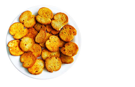 crispy bread pizza flavor isolated with space for text