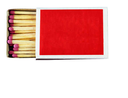 A red paper matchbox is isolated, isolated on a white background with space for text