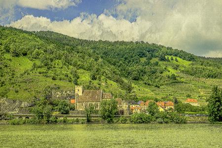 als: Landschaftsaufnahme von St. Michael in der Wachau als Aquarell ausgearbeitet Stock Photo